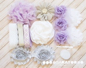 Sterling Silver & Lavender Headband Starter Kit - Coordinating Elastic and Flowers to create hairbands