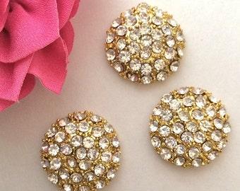 "6 pcs - crystal GOLD plated rhinestone jewel bridal Decoration round flat back 1"" size 25mm - flower center embellishment vintage"