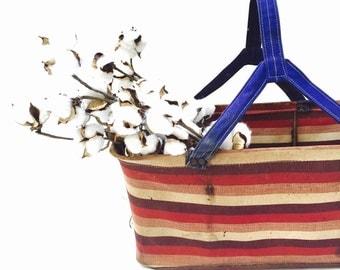 Vintage Canvas Shopping Basket