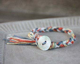 Braided Cotton Bracelet with tassel, stacking bracelet, knotted bracelet, macrame bracelet, multi-color bracelet, friendship bracelet