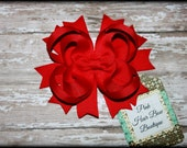 Red Hair bow , Red Hair Clip, Christmas Hair bow, Red boutique Hair bow, Red hairbow, Red Stacked hair bow, Red Bow
