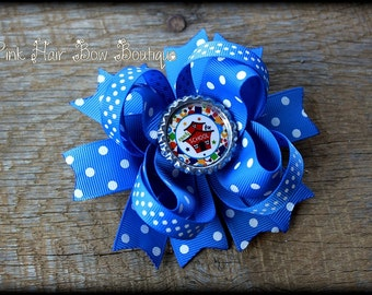 Blue Ready for School Hair Bow - 1st Day of School bow - 4.5 inch hair bow -  Blue Bow,  Blue Hair bow for girls