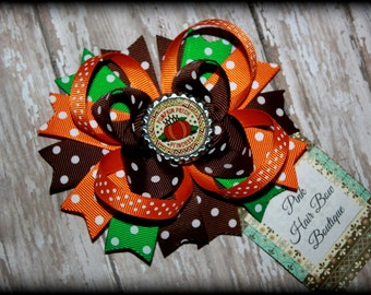 Pumpkin hair bow , pumpkin patch princess hair bow