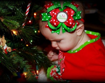 Babys First Christmas Hair Bow Head Band Perfect for The Holiday Season , First Christmas Hair Bow white and green