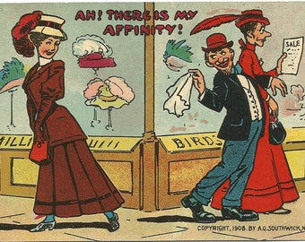 Ah! There is my Affinity! Comic Postcard Married Man Flirty with Pretty Woman while Walking with Wife Shopping Vintage Postcard 1908