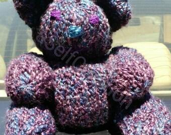 Loomed Teddy Bear - Purple with Blue