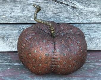 Primitive Pumpkin Orange Fabric Handmade Folkart