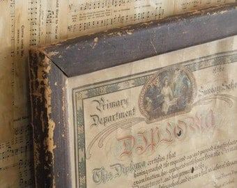 Antique Diploma Sunday School Religious Framed 1910