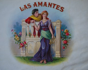 LAS AMANTES - inner cigar box label lithograph - Edwardian - Neo Classical - Lyre/ Harp - two lovers