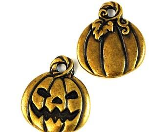 TierraCast Brass Oxide (plated) Jack O'Lantern Halloween Charm
