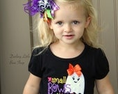 Ghost black Bodysuit or Shirt for Girls for Halloween -- Small Bows Are Sooo Scary -- purple, orange, hot pink, yellow, lime green EXCLUSIVE
