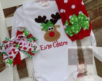 Baby Girl Christmas oufit -- Pretty Reindeer -- reindeer bodysuit, leg warmers and bow - red and apple green