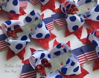 NoogaStrong bow -- red, white and blue bow with Tennessee center -- portion of proceeds to support families of 7/16/15 victims
