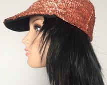 Vintage Peach Sequins Unstructured Baseball Cap