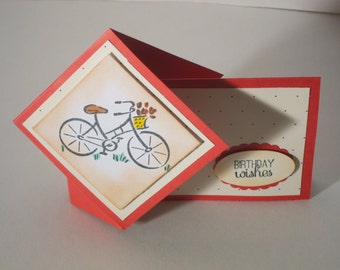 Bicycle Themed Handmade Decorative 3D Greeting Card For All Occasions (8 Greeting Options Available)