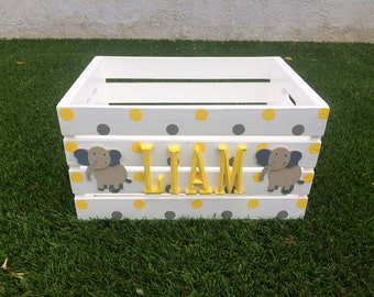 Polka dots! Personalized childrens painted wood toy box
