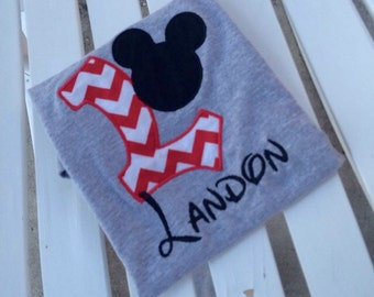 Personalized Disney Mickey Letter alphabet appliqued tshirt