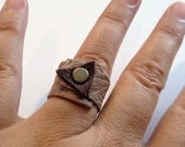 Leather Ring,Two Color- Wraped Around Ring