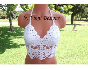 Crochet Top, Fashion White Crop Top by Vikni Designs