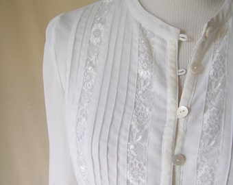 ADOLPHO vintage 80s romantic white lace trim crepe blouse S/M