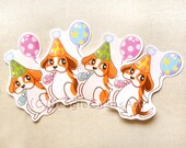 Beagle Brithday Stickers, Treat Bag Seals, Goodie Bag Stickers, Animal Stickers, Dog Lover Gift, Scrapbook Paper, Party Favor, Envelope Seal