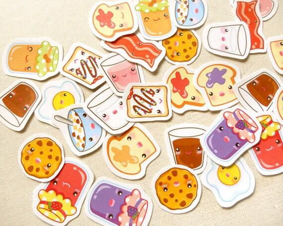 Breakfast Planner Stickers: Kawaii Food Sticker by ...