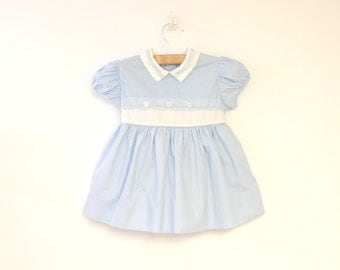 Vintage Baby Clothes, 1950's Light Blue and White Lace Baby Girl Dress, Vintage Baby Dress, Blue Baby Dress, Size 6-9 Months