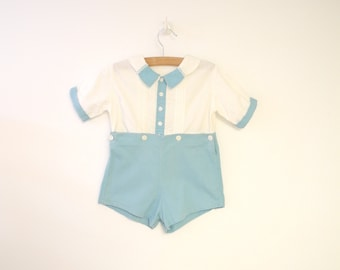 Vintage Baby Clothes, 1920's Handmade Teal Blue and Ivory Baby Boy Romper, Vintage Baby Romper, Blue Baby Romper, Size 12 Months