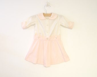 Vintage Baby Clothes, 1930's Pale Pink and White Baby Girl Dress Set, Vintage Baby Dress, Pink Baby Dress, White Baby Dress, Size 6 Months