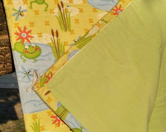 """Baby Blanket Tie Quilt...hand made...Frog...Toad...Green Froggy..infant blanket...security blanket...approx. 32"""" x 40"""""""