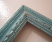 Large Rustic Hand Carved Chunky Wood Open Frame Vintage Up Cycled in Distressed Icy Blue