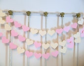 Wedding Garland ,10ft Heart garland , Ivory and pink BRIDAL shower Decor , Baby Shower Decor , You Pick the Colors and heart size