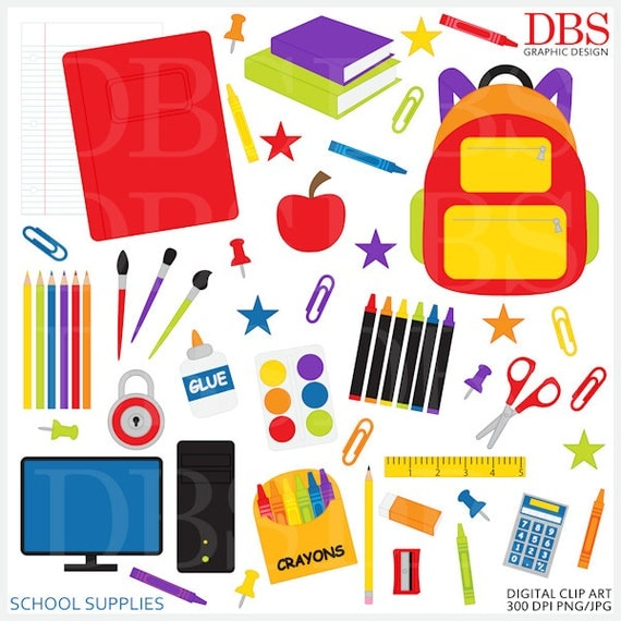 school clipart clip art digital printable School Supplies