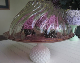 Large/Decorative/crystal/Dessert Covered Pedestal Stand/Cake Stand/Serveware/Cloche cake dome cover/pink white hobnail