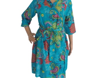 Blue robe   (Getting ready robes, Nursing mothers, Lounge wear, Beach cover up, Bridesmaids Gifts)