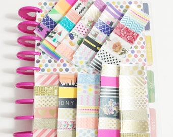 Set of 8 Random Sample Sheets of Washi Tape Washi Samples Erin Condron Life Planner and Happy Planner Size Cut Samples