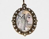 Owl Goddess Necklace, Bird Jewelry, Oval Pendant