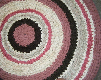 Rose Pink and Brown 3 Feet Round Area Rug - For Etsy
