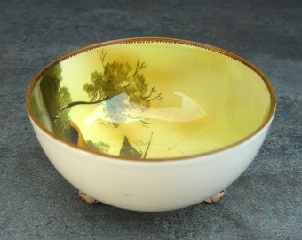 Noritake Footed Bowl, Mayonnaise, Finger Dipping, Nuts, Scene Tree Boat Water Yellow Sky, Hand Painted Ring Dish, Made in Japan