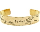 Personalized Gold Bracelet - Personalized Jewelry - Hand Stamped - bird jewelry - bird bracelet, blessed, gift for her, handmade