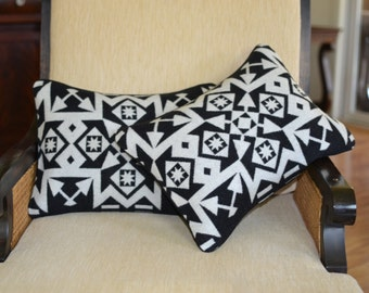 PAIR of Pillow Covers - Native American black and white Portland Oregon wool pillows  - 12 x 16 tribal inspired arrows - blanket weight wool