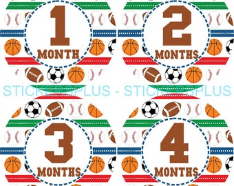 Baby Month Stickers Monthly Baby Milestone Stickers Baby Bodysuit Stickers Plus FREE Gift Boy Sports Soccer Basketball Football Baseball