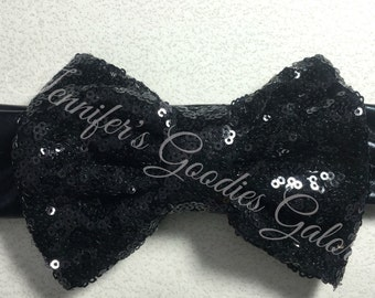 "5"" Black Sequin Bow with matching metallic headband"