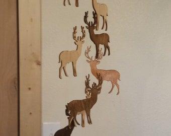 Wooden Deer Mobile Rustic