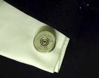 Mens Cufflinks, Silver Winchester Shotgun Shells  Mens Accessories  Handmade