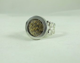 Silver Ring,  Unique Rattlesnake Skin Hide Adjustable Ring Men or Women Gift  Handmade