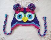 Amethyst, Turquoise and Bright Pink Crochet Owl Hat with Bows - Photo Prop - Available in Any Size or Color Combination