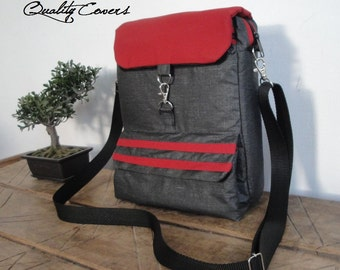 Messenger Bag - Customizable for Color Fabric - fully PADDED bag - Waterproof lining - exterior large POCKET and Wallet - 7 interior pockets