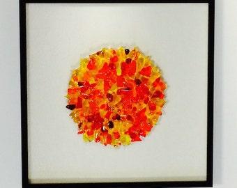 Contemporary Art Glass Sculptural Framed Sun Burst
