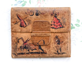 Spanish Leather Wallet - Flamenco Dancer and Bull Fighter- Little Old and Distressed Leather Pouch or Purse - Vintage Souvenir from Spain